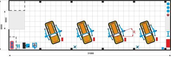 Схема размещения подъемников в автосервисе